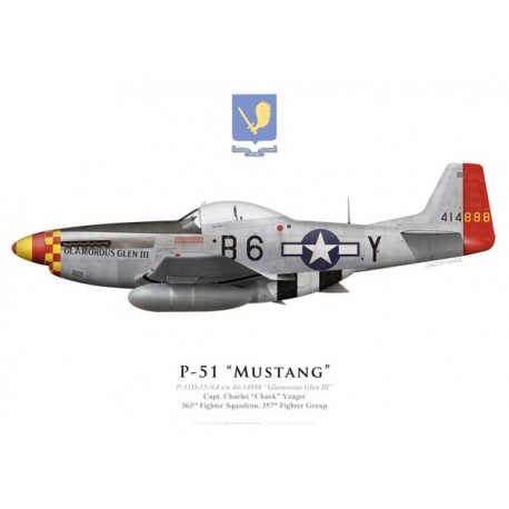 """P-51D Mustang """"Glamorous Glen III"""", Capt. Charles """"Chuck"""" Yeager, 363rd Fighter Squadron, 357th Fighter Group"""