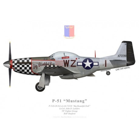 "P-51D Mustang ""Big Beautiful Doll"", Lt.Col. John D. Landers, 78th Fighter Group, 84th Fighter Squadron"