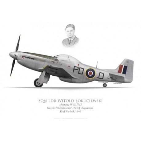 """Mustang Mk IV, Sqdn Ldr Witold Lokuciewski, No 303 """"Kosciuszko"""" (Polish) Squadron, Royal Air Force, 1946"""