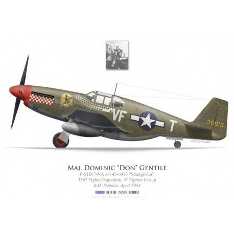 """P-51B Mustang """"Shangri-La"""", Maj. """"Don"""" Gentile, 336th Fighter Squadron, 4th Fighter Group, 1944"""