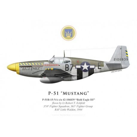 "P-51B Mustang ""Bald Eagle III"", Lt Robert Eckfeld, 374th Fighter Squadron, 361st Fighter Group, 1944"