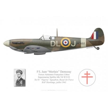 "Spitfire Mk Vb, F/L Jean Demozay, No 91 ""Nigeria"" Squadron, Royal Air Force, 1941"