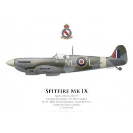 Spitfire Mk IXc, Cdt René Mouchotte, S/C Pierre Magrot, No 341 (Free French) Squadron, Royal Air Force, 27 août 1943