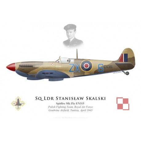 Spitfire Mk IXc, S/L Stanislaw Skalski, Polish Fighting Team, Royal Air Force, Tunisie, 1943