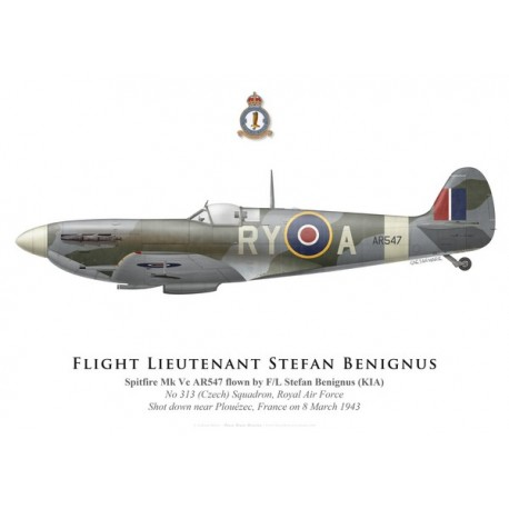 Spitfire Mk Vc, F/L Stefan Benignus, No 313 (Czech) Squadron, Royal Air Force, 1943