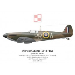 """Spitfire Mk Ia, F/O Tadeusz """"Novi"""" Nowierski, No 609 Squadron, Royal Air Force, août 1940"""
