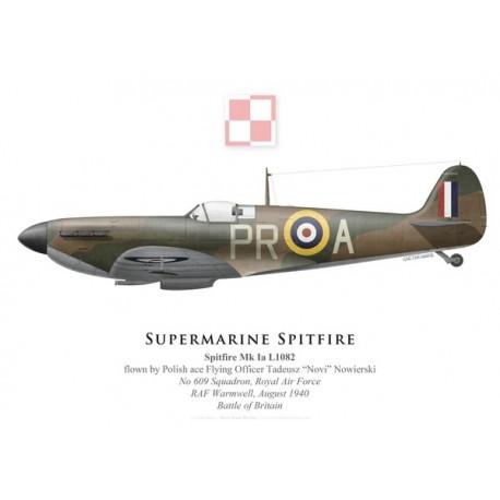 """Spitfire Mk Ia, F/O Tadeusz """"Novi"""" Nowierski, No 609 Squadron, Royal Air Force, August 1940"""