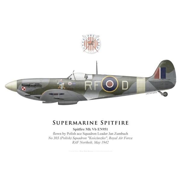 Spitfire Mk Vb, S/L Jan Zumbach, No 303 (Polish) Squadron, Royal ...