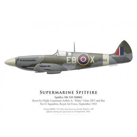 "Spitfire Mk XII, F/L Arthur ""Pinky"" Glen, No 41 Squadron, Royal Air Force, septembre 1943"