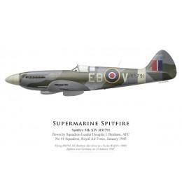 Spitfire Mk XIV RM791, S/L Douglas Benham, No 41 Squadron, Royal Air Force, janvier 1945
