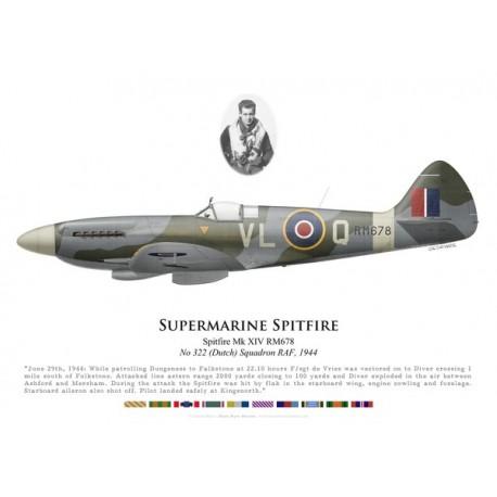 Spitfire Mk XIV, F/S de Vries, No 322 (Dutch) Squadron, Royal Air Force, 1944