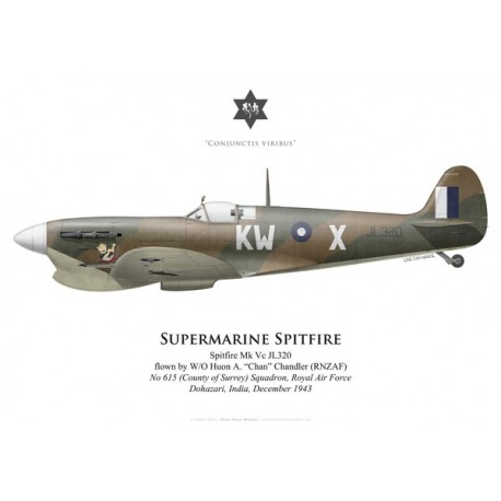 Supermarine Spitfire Mk Vc JL320, W/O Huon Chandler (RNZAF), No 615 (County of Surrey) Squadron, Royal Air Force, India, 1943