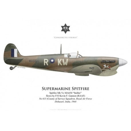 "Spitfire Mk Vc ""Snifter"", F/O Kevin Gannon (RAAF), No 615 (County of Surrey) Squadron RAF, Inde, 1944"