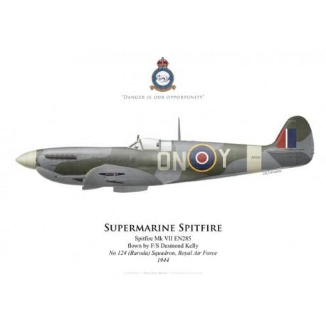 Spitfire Mk VII, F/S Desmond Kelly, No 124 (Baroda) Squadron RAF, 1944