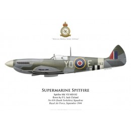 Spitfire Mk VII, F/L Jack Cleland, No 616 (South Yorkshire) Squadron, Royal Air Force, septembre 1944