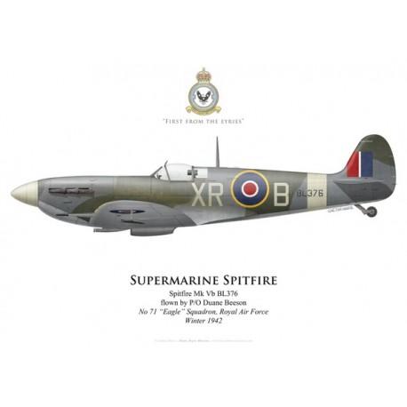 "Spitfire Mk Vb, P/O Duane Beeson, No 71 ""Eagle"" Squadron, Royal Air Force, hiver 1942"