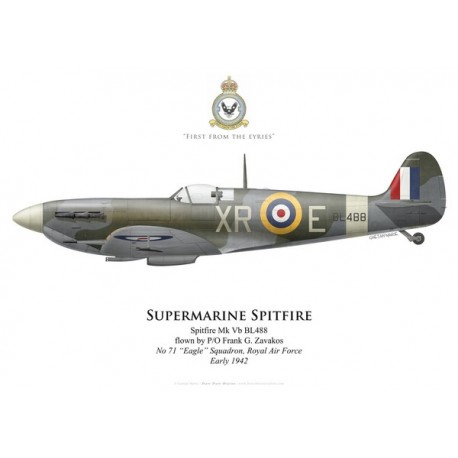 "Spitfire Mk Vb, P/O Frank Zavakos, No 71 ""Eagle"" Squadron, Royal Air Force, 1942"