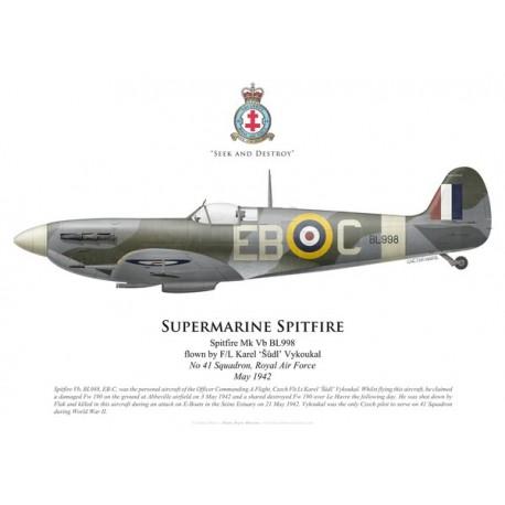 Spitfire Mk Vb, F/L Karel 'Šůdl' Vykoukal, No 41 Squadron, Royal Air Force, mai 1942