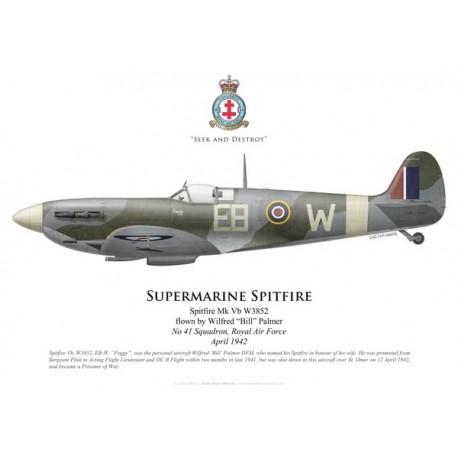 """Spitfire Mk Vb, Wilfred """"Bill"""" Palmer, No 41 Squadron, Royal Air Force, avril 1942"""