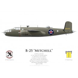 B-25B Mitchell, Lt. Col. James Doolittle, USS Hornet, Doolittle Raid, 18 April 1942
