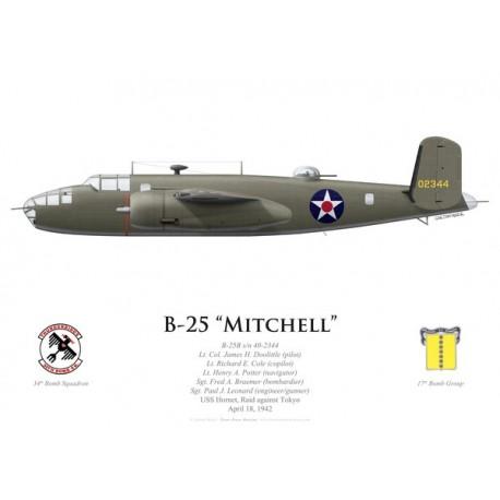 B-25B Mitchell, Lt. Col. James Doolittle, USS Hornet, Doolittle Raid, 18 April 1942
