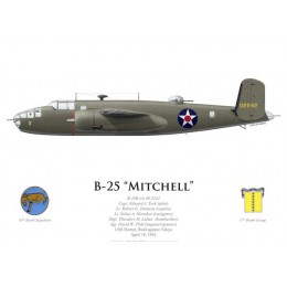 B-25B Mitchell, Capt. Edward York, USS Hornet, Doolittle Raid, 18 April 1942
