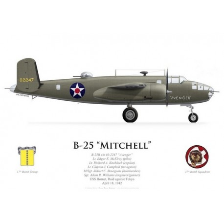 "B-25B Mitchell ""Avenger"", Lt Edgar McElroy, USS Hornet, Raid Doolittle, 18 avril 1942"