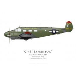 Beech Model D18S, SK-TEX, South Pacific Wing, Commemorative Air Force, Nouvelle-Zélande