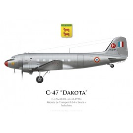 "C-47A Dakota, Groupe de Transport 1/64 ""Béarn"", Indochine"