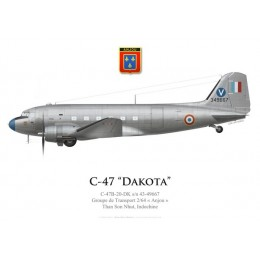 "C-47A Dakota, Groupe de Transport 2/64 ""Anjou"", French Air Force, Than Son Nhut, Indochina"